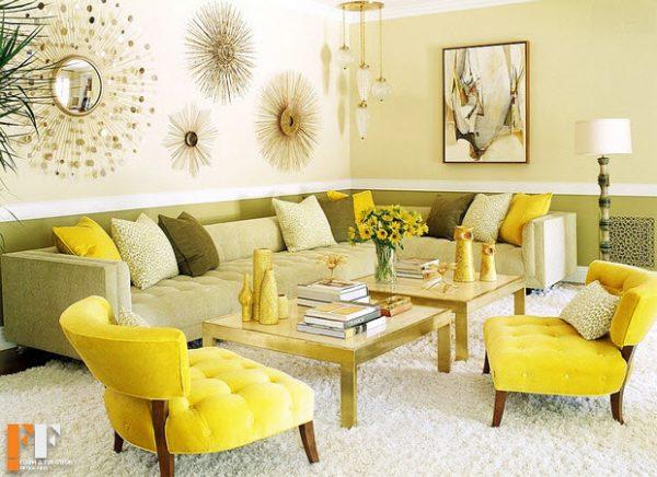 استاده از رنگ زرد در دکوراسیون داخلی خانه با رنگهای شاد