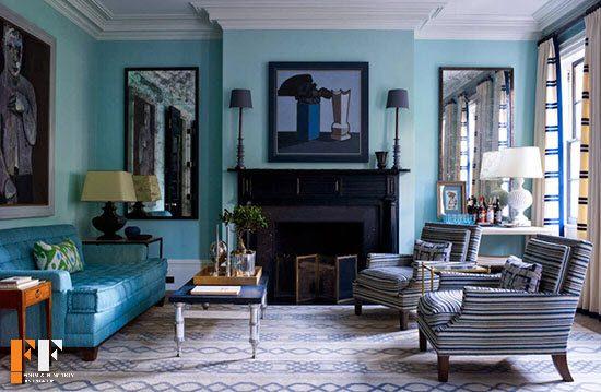 رنگ فیروزه ای در دکوراسیون داخلی خانه با رنگهای شاد